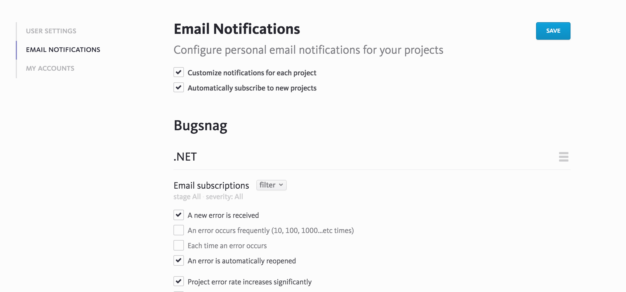Email settings